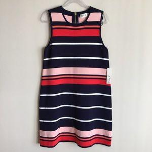 ELIZA J Stripe Sleeveless Shift Sweater Dress Navy